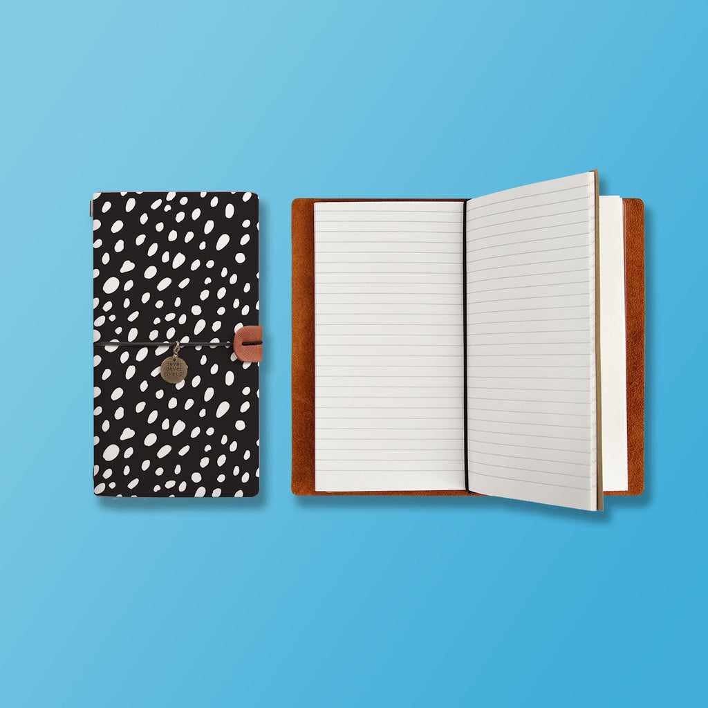 the front top view of midori style traveler's notebook with Polka Dot design