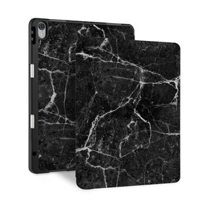 front and back view of personalized iPad case with pencil holder and Marble design