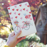 a girl holding personalized RFID blocking passport travel wallet with Happy Valentine Day design