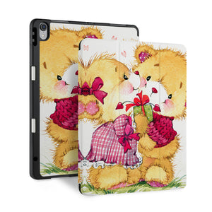 front back and stand view of personalized iPad case with pencil holder and Bear design - swap