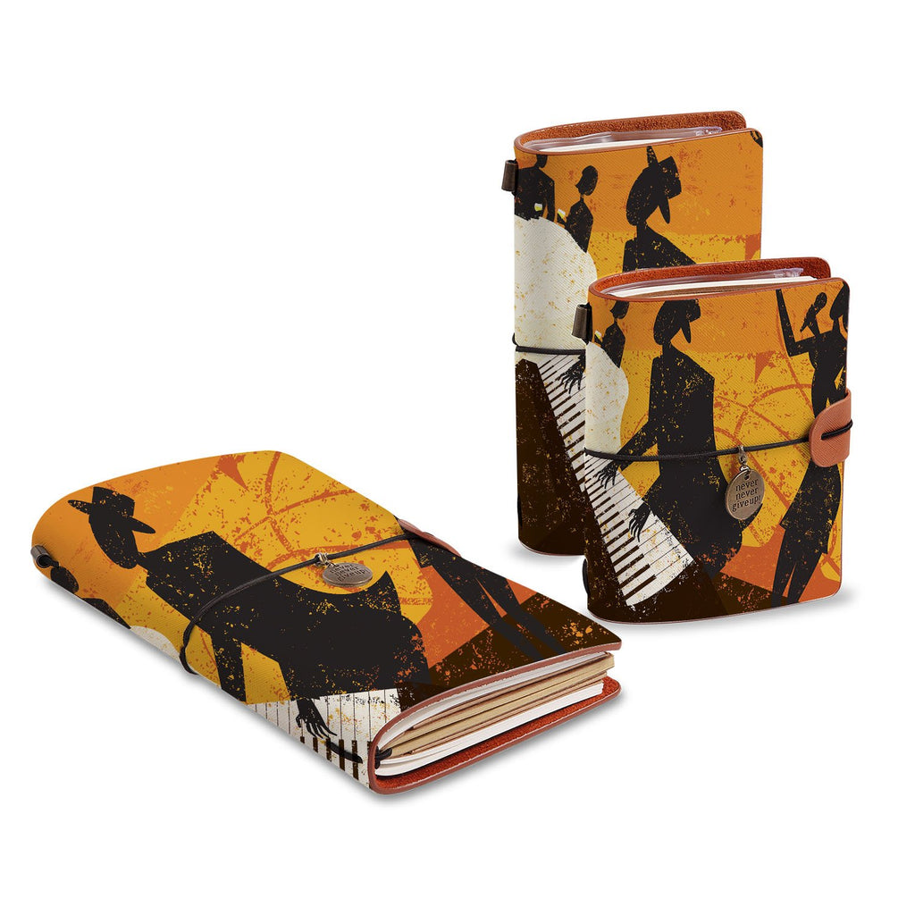 three size of midori style traveler's notebooks with Music design