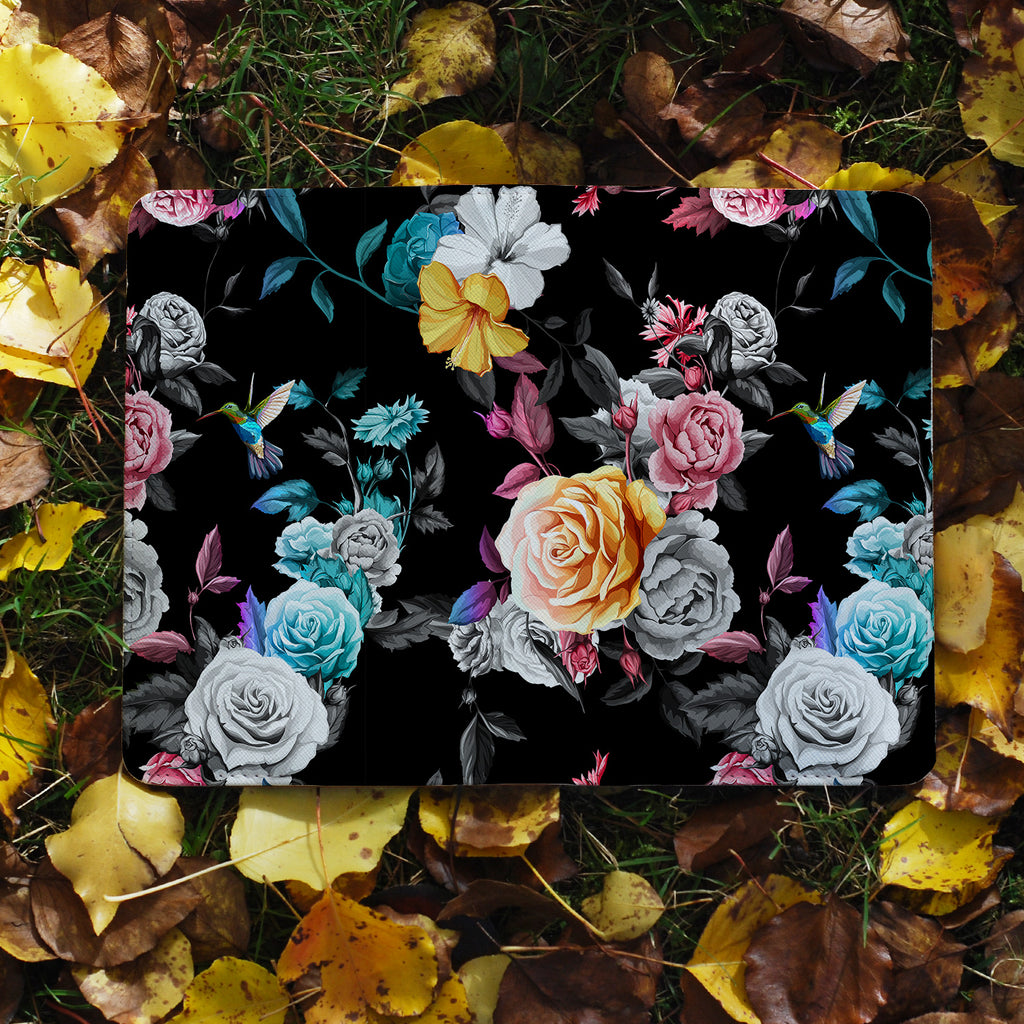 flat view of personalized RFID blocking passport travel wallet with Black Flower design