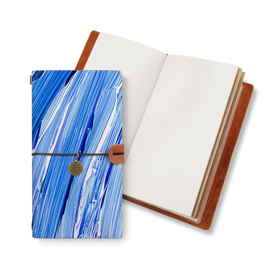 opened midori style traveler's notebook with Futuristic design