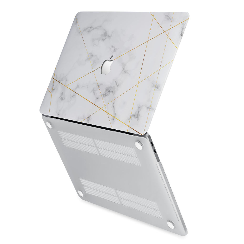 hardshell case with Marble 2020 design has rubberized feet that keeps your MacBook from sliding on smooth surfaces