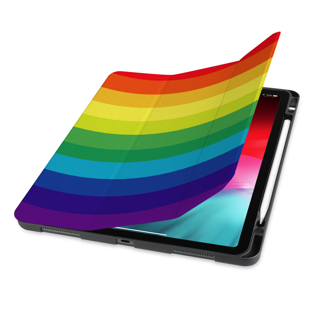 front view of personalized iPad case with pencil holder and Rainbow design