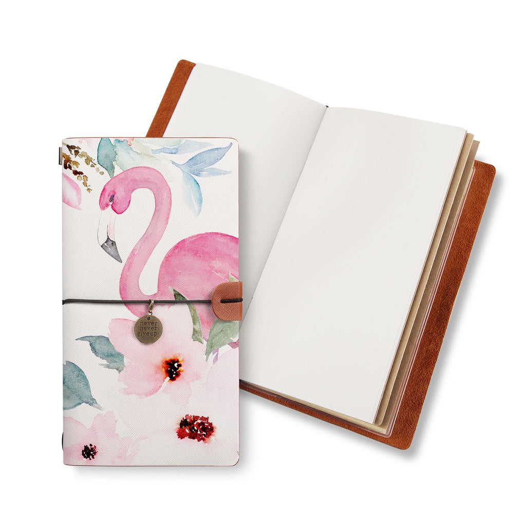 opened midori style traveler's notebook with Flamingo design