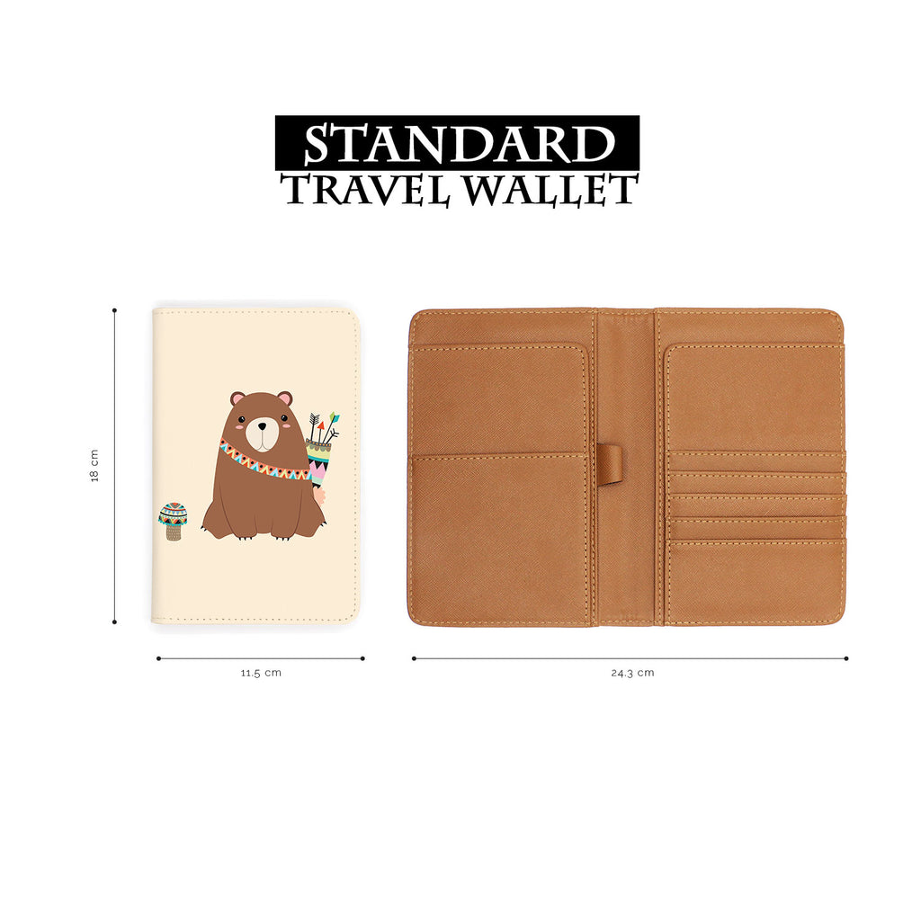 standard size of personalized RFID blocking passport travel wallet with Tribal Animals design