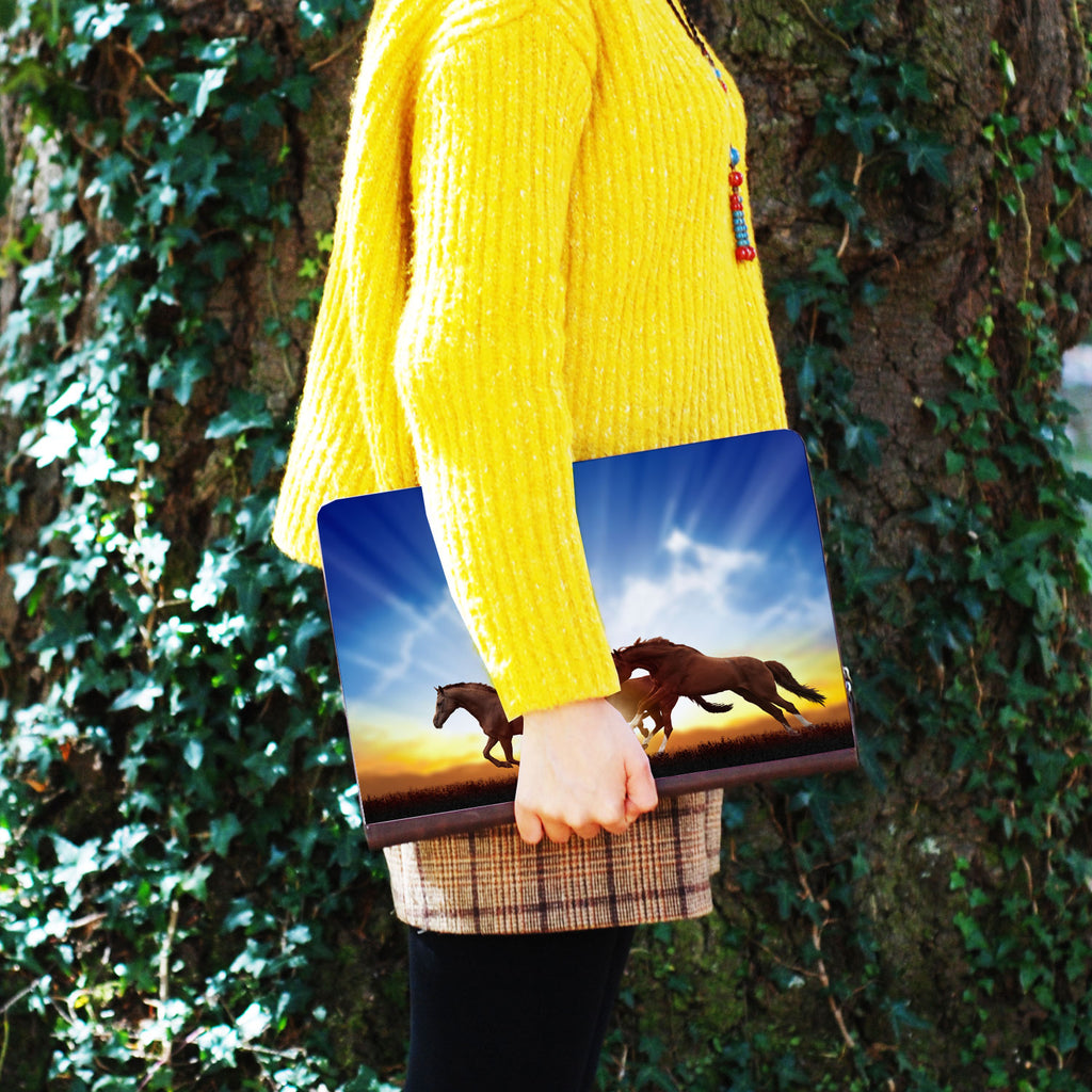a girl holding personalized Macbook carry bag case with Horse design