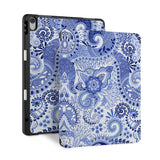 front and back view of personalized iPad case with pencil holder and China Blue design