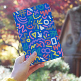 a girl holding personalized RFID blocking passport travel wallet with 90 Patterns design
