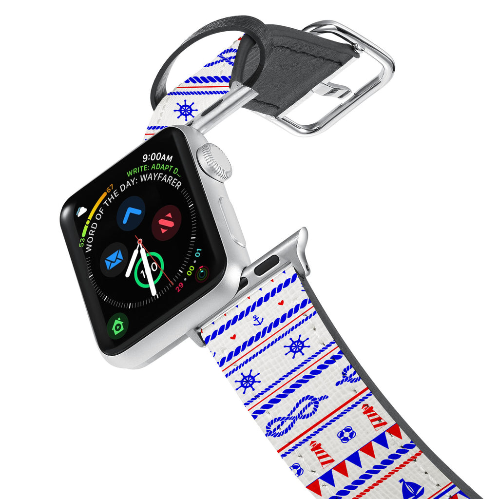 Printed Leather Apple Watch Band with Nautical design. Designed for Apple Watch Series 4,Works with all previous versions of Apple Watch.