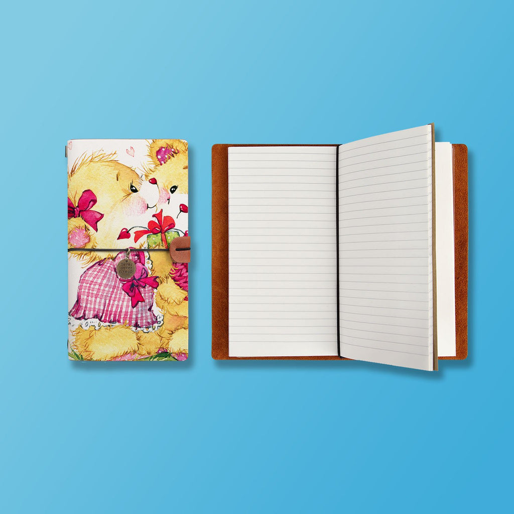 the front top view of midori style traveler's notebook with Bear design