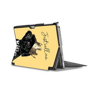 the back side of Personalized Microsoft Surface Pro and Go Case in Movie Stand View with Dog Fun design - swap