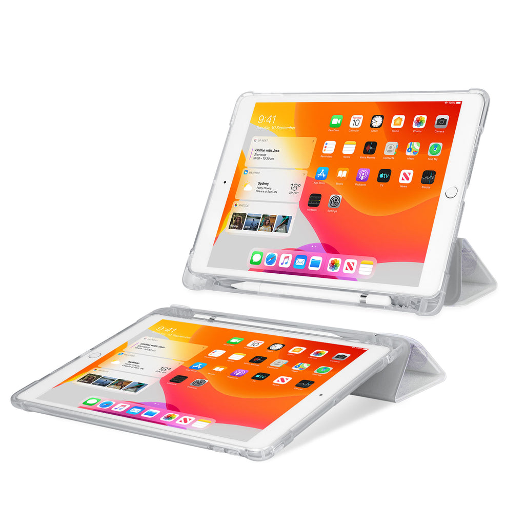 iPad SeeThru Casd with Travel Design Rugged, reinforced cover converts to multi-angle typing/viewing stand