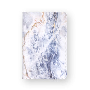 front view of personalized RFID blocking passport travel wallet with Marble design