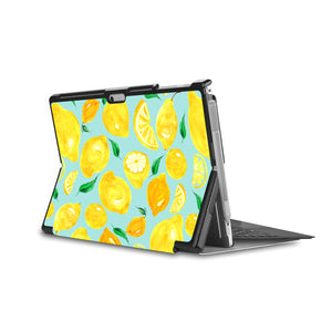 the back side of Personalized Microsoft Surface Pro and Go Case in Movie Stand View with Fruit design - swap