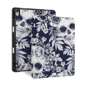 front and back view of personalized iPad case with pencil holder and Gothic design