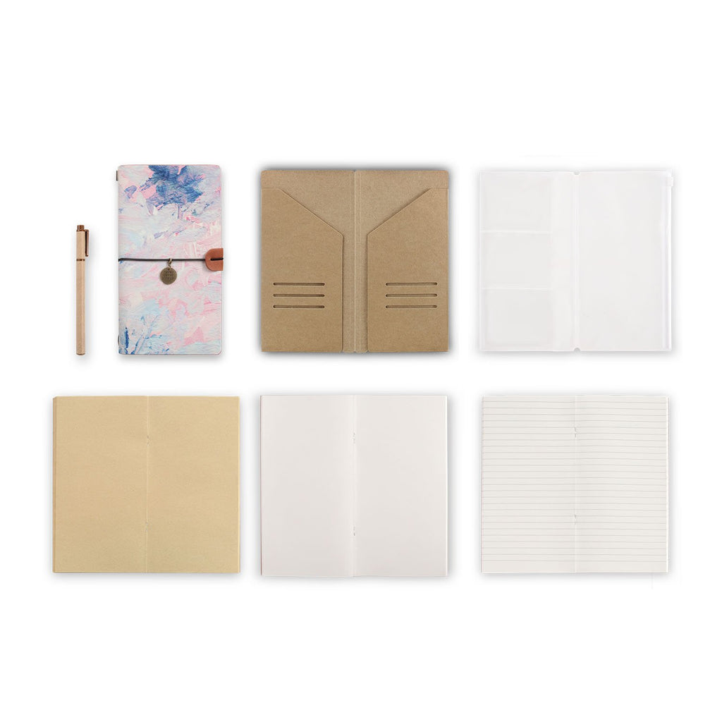 midori style traveler's notebook with Oil Painting Abstract design, refills and accessories