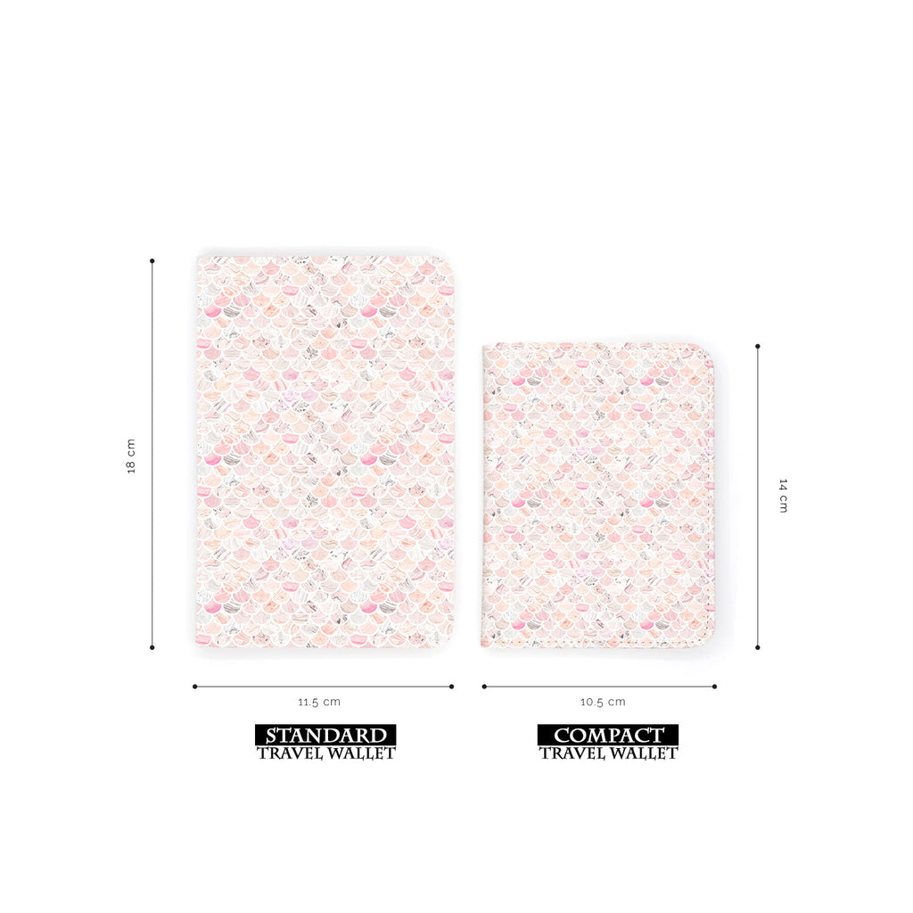comparison of two sizes of personalized RFID blocking passport travel wallet with Marble Tiles design
