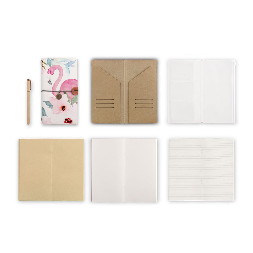 midori style traveler's notebook with Flamingo design, refills and accessories