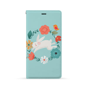 Front Side of Personalized Huawei Wallet Case with Easter Bunny design