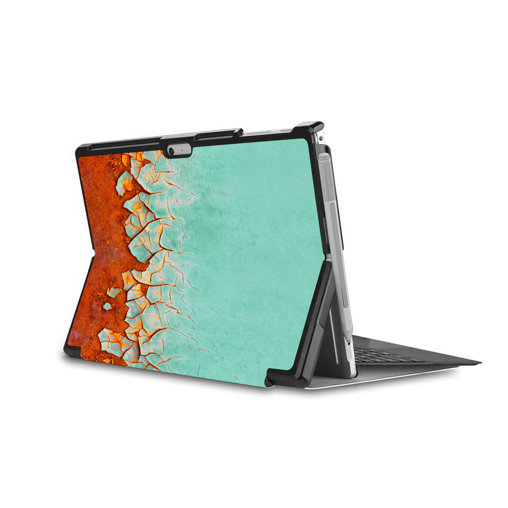 the back side of Personalized Microsoft Surface Pro and Go Case in Movie Stand View with Rusted Metal design - swap