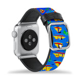 Printed Leather Apple Watch Band with Hawaiian design Like all Apple Watch bands, you can match this band with any Apple Watch case of the same size
