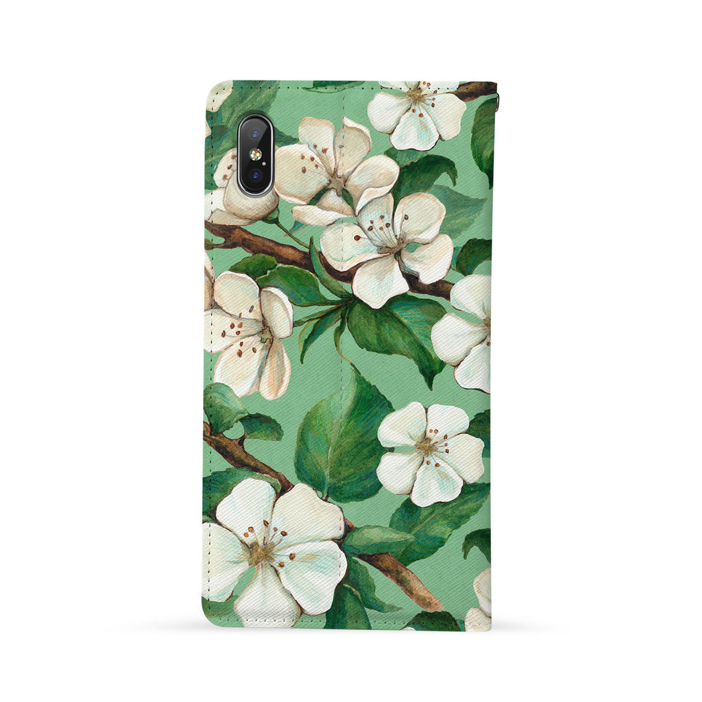 Back Side of Personalized iPhone Wallet Case with Flower design - swap