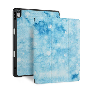 front back and stand view of personalized iPad case with pencil holder and Winter design - swap