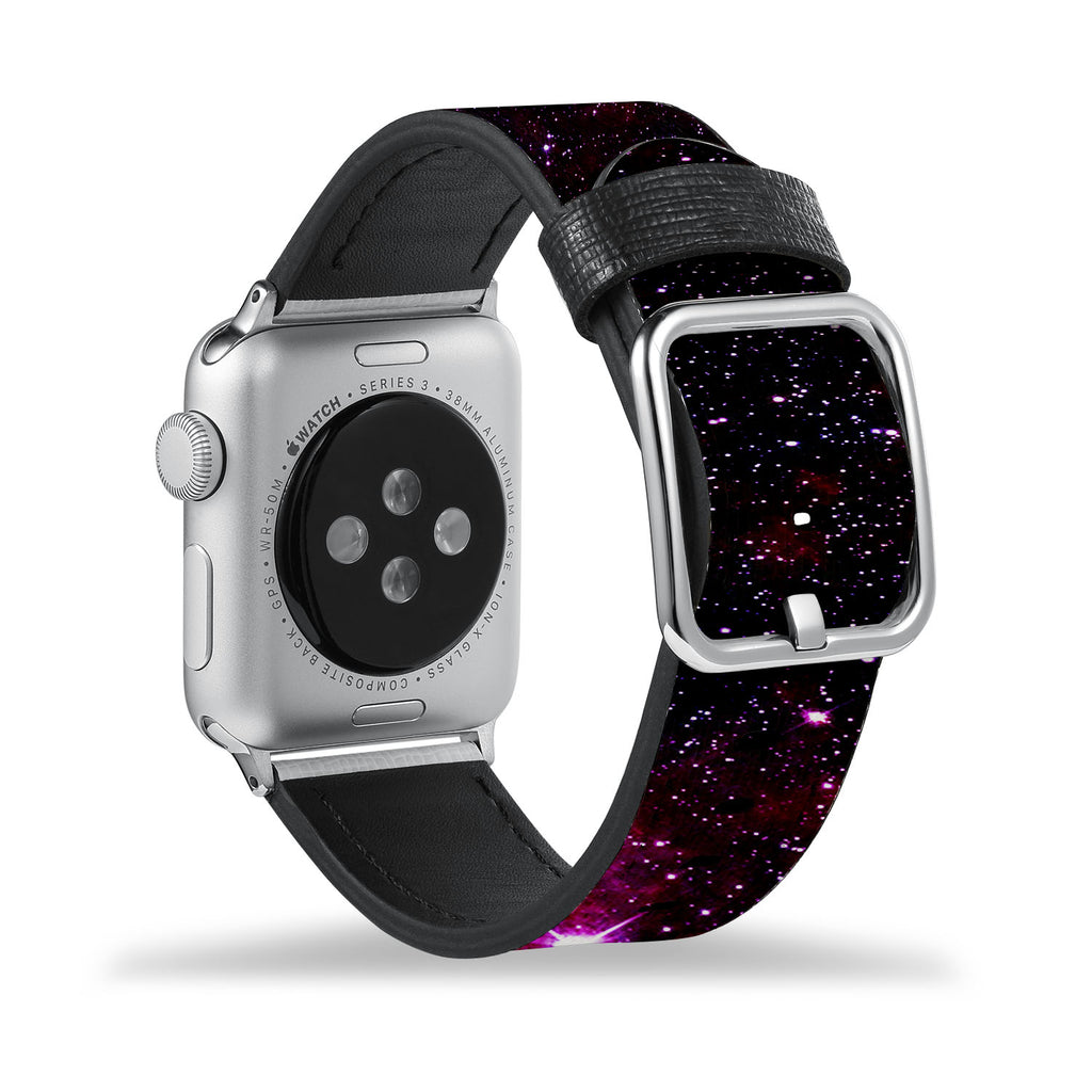 Printed Leather Apple Watch Band with Galaxy design Like all Apple Watch bands, you can match this band with any Apple Watch case of the same size