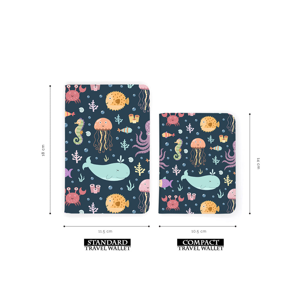 comparison of two sizes of personalized RFID blocking passport travel wallet with Sealife design