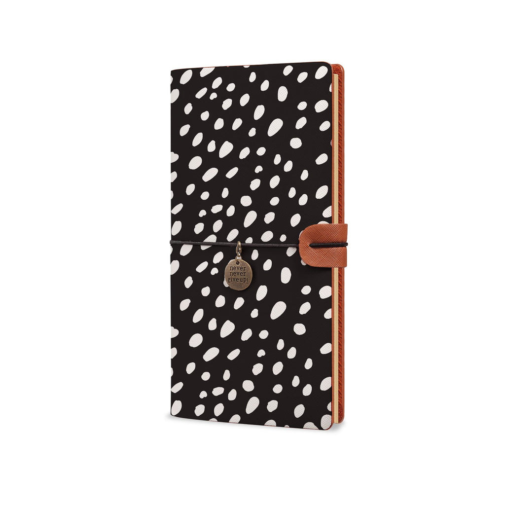 Traveler's Notebook - Polka Dot-the side view of midori style traveler's notebook - swap