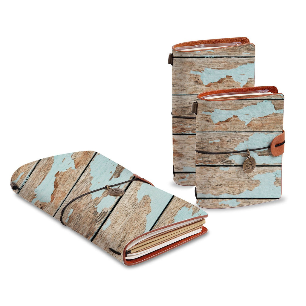 three size of midori style traveler's notebooks with Wood design