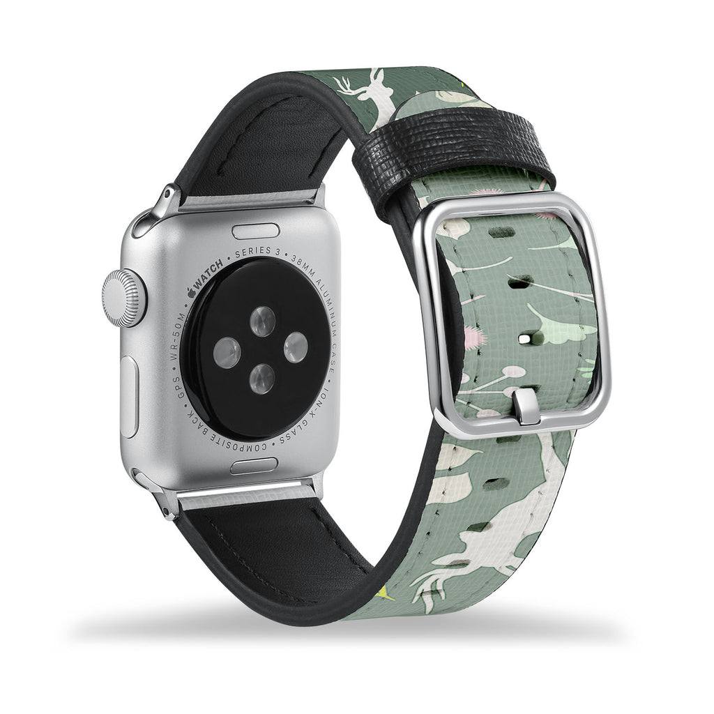 Printed Leather Apple Watch Band with Back To Nature design Like all Apple Watch bands, you can match this band with any Apple Watch case of the same size
