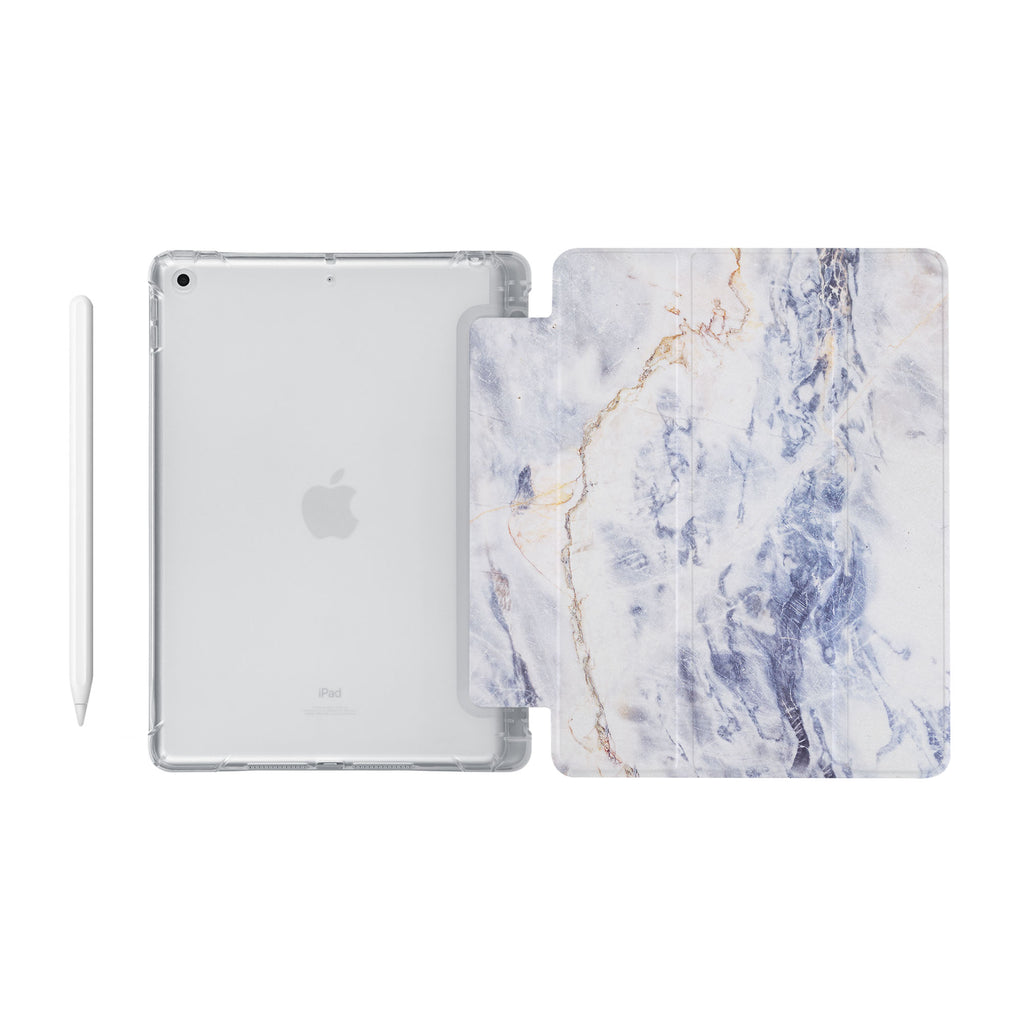 iPad SeeThru Casd with Marble Design Fully compatible with the Apple Pencil