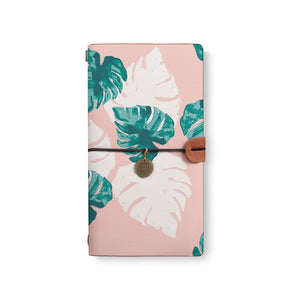 the front top view of midori style traveler's notebook with Pink Flower 2 design
