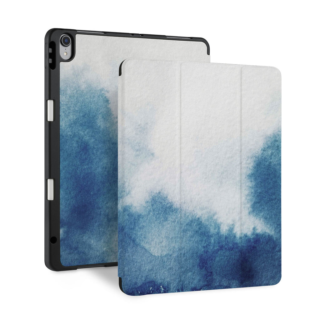 front back and stand view of personalized iPad case with pencil holder and Abstract Ink Painting design - swap