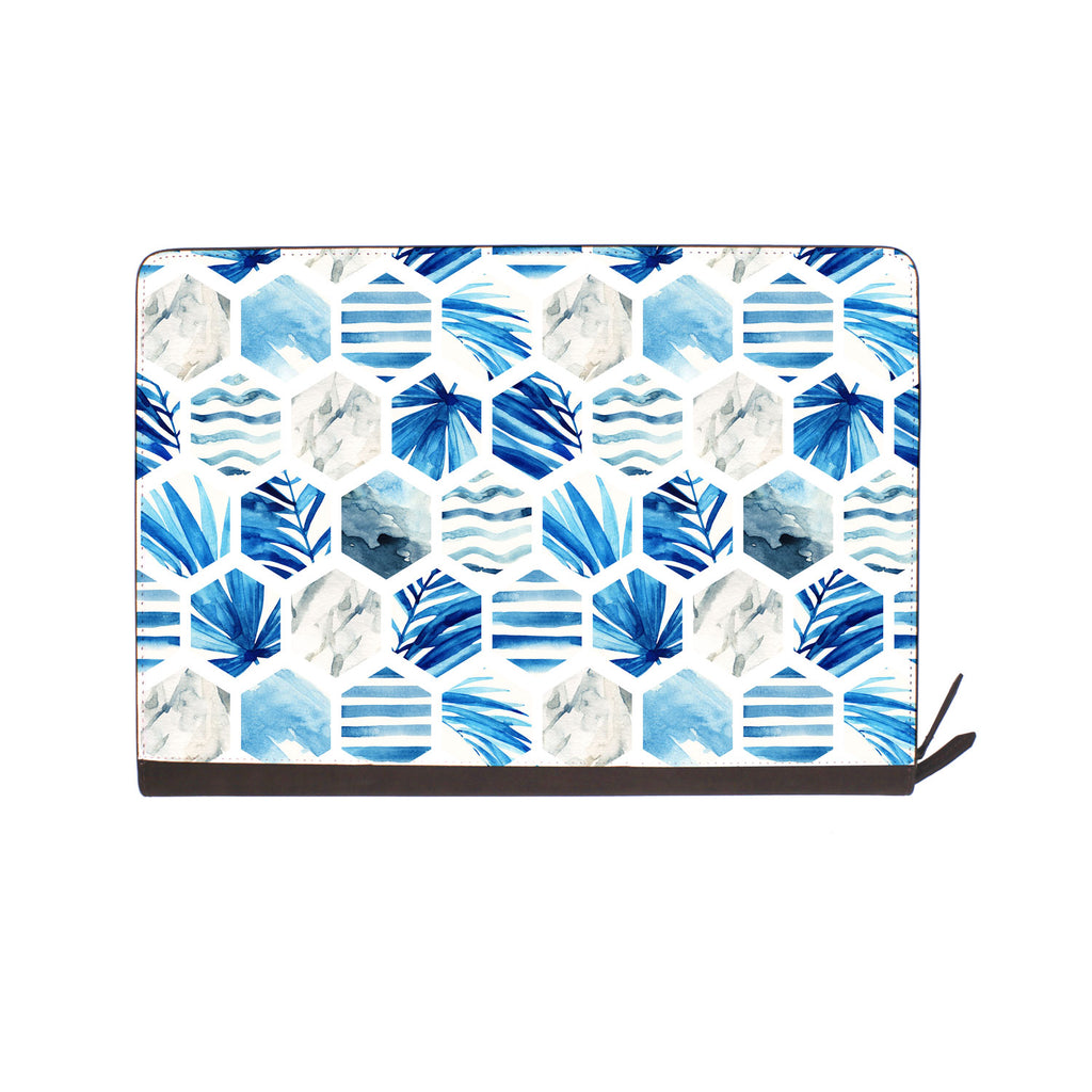 front view of personalized Macbook carry bag case with Geometric Flower design