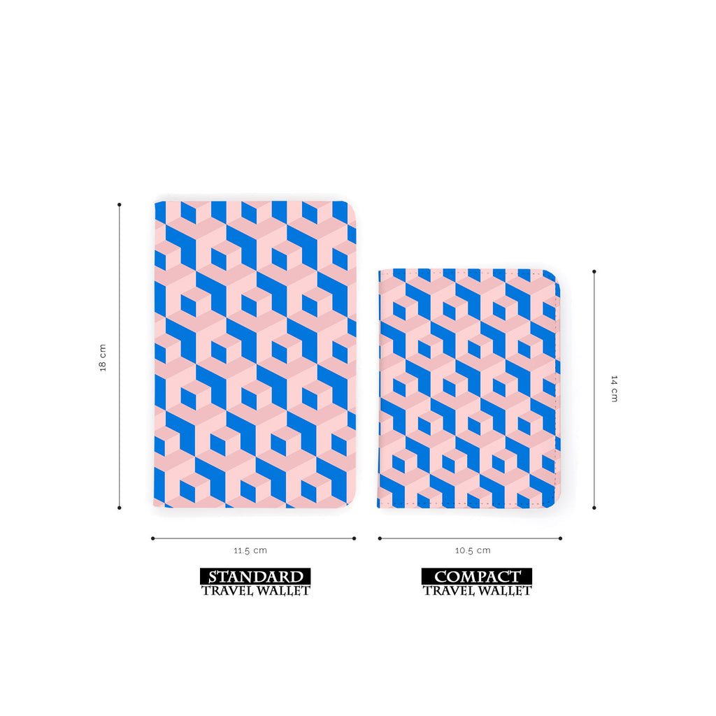 comparison of two sizes of personalized RFID blocking passport travel wallet with 3D Patterns design
