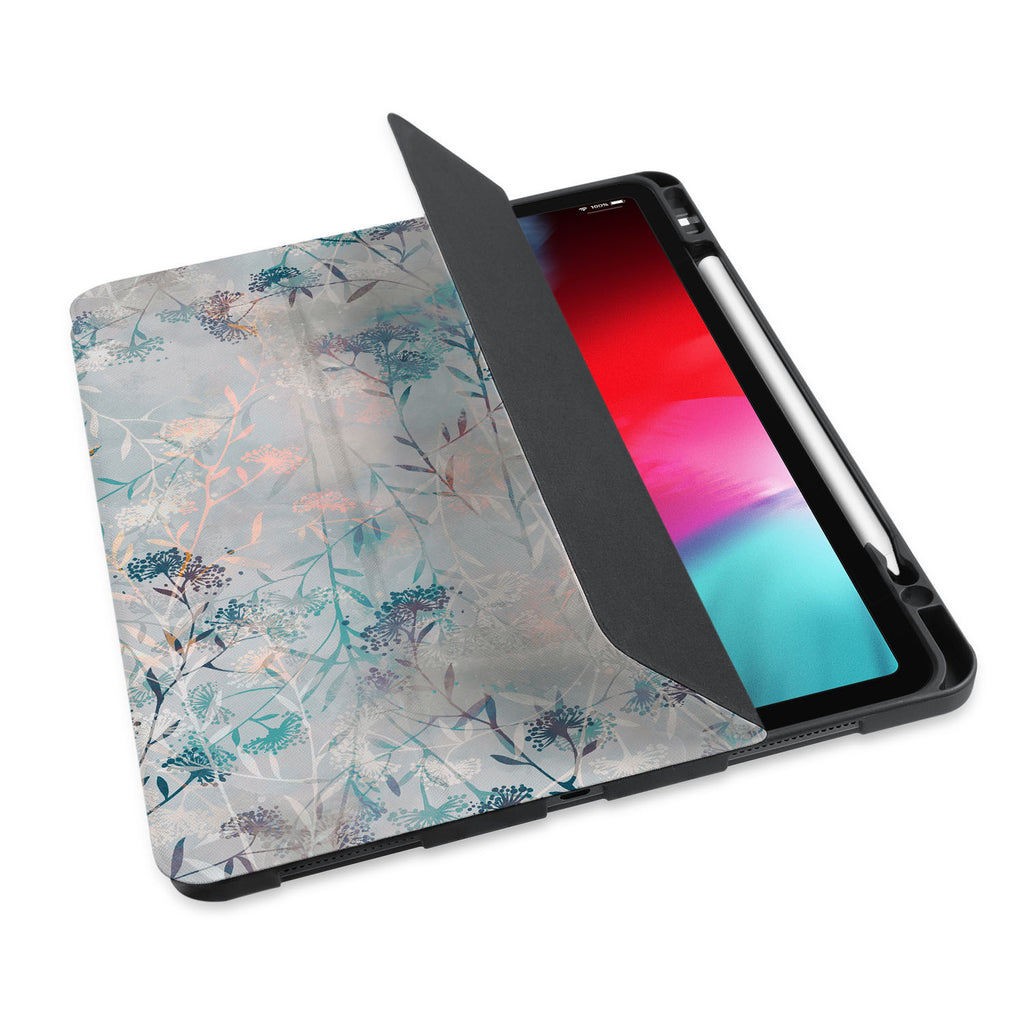 personalized iPad case with pencil holder and Psychedelic design