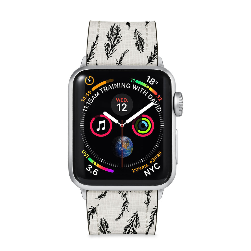 Our Printed Leather Apple Watch Band with Tiles design are made of water- and scratch-resistant saffiano leather because we know you wear your apple watch every, single, day. - swap