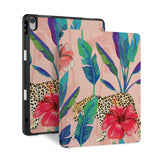 front and back view of personalized iPad case with pencil holder and Stay Wild design