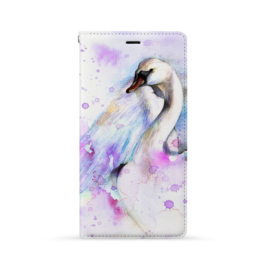 Front Side of Personalized iPhone Wallet Case with Swan design