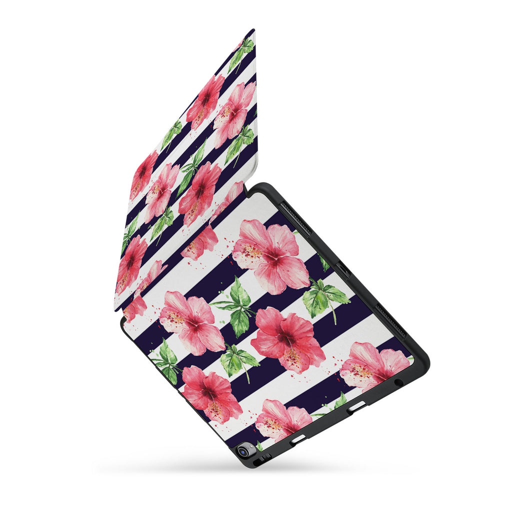 personalized iPad case with pencil holder and Tropical Fantasy design