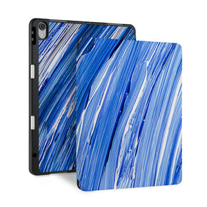 front back and stand view of personalized iPad case with pencil holder and Futuristic design - swap