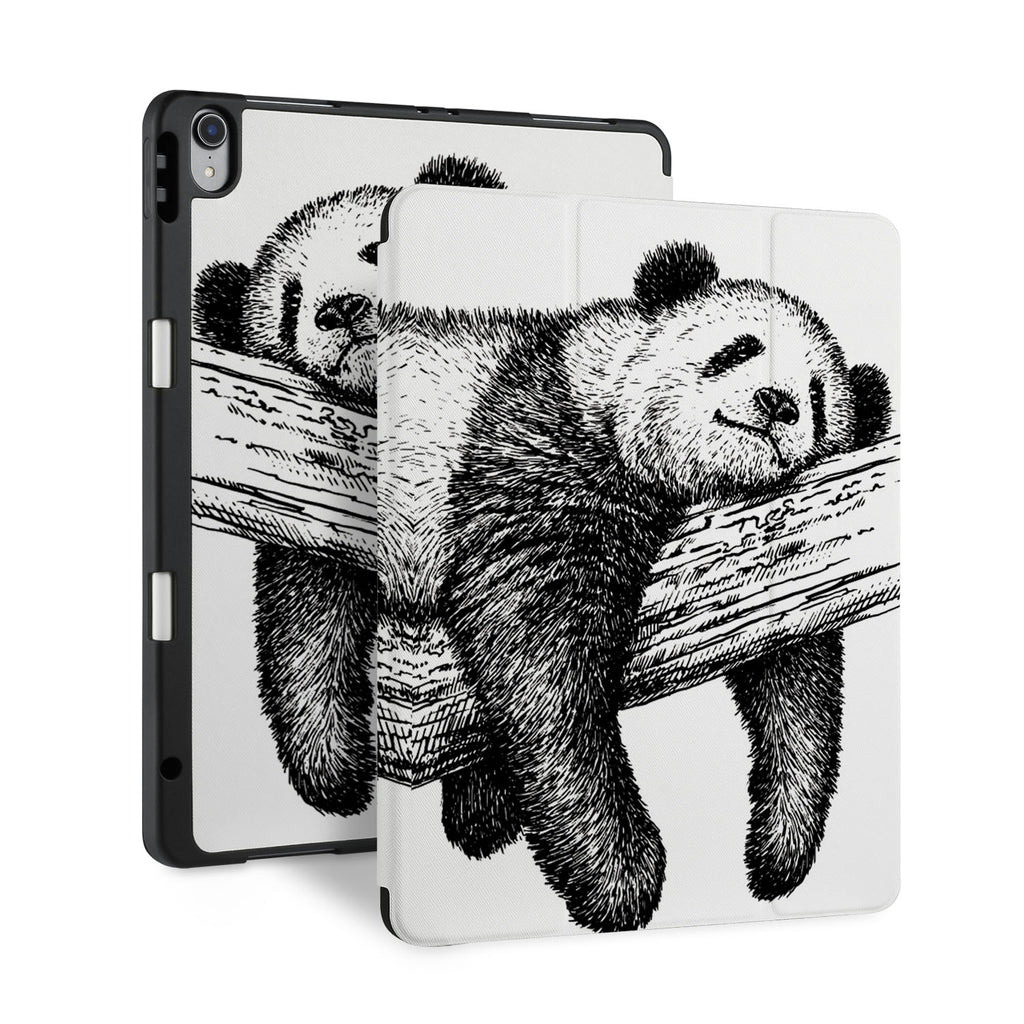 front and back view of personalized iPad case with pencil holder and Panda design