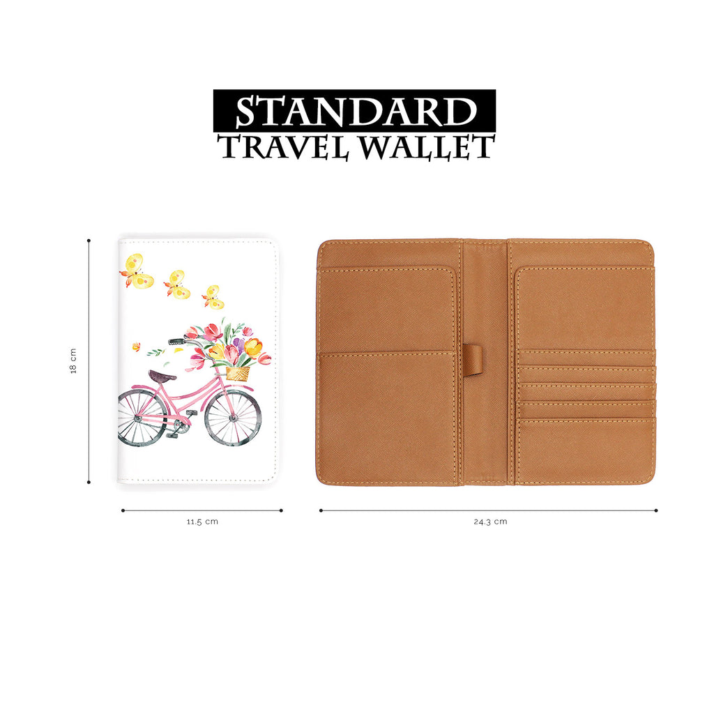 standard size of personalized RFID blocking passport travel wallet with Springtime design