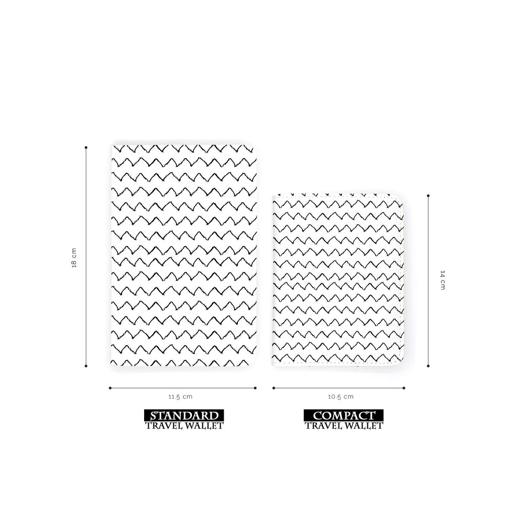 comparison of two sizes of personalized RFID blocking passport travel wallet with Black Seamless Patterns design