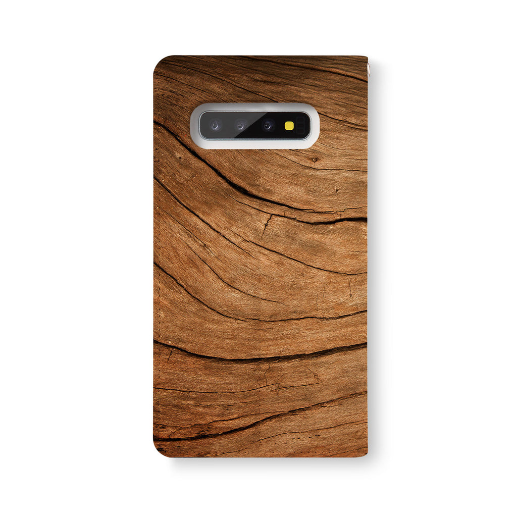 Back Side of Personalized Samsung Galaxy Wallet Case with Wood design - swap