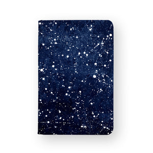 front view of personalized RFID blocking passport travel wallet with Galaxy Universe design